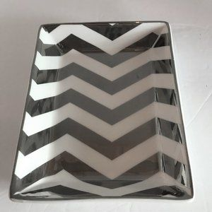 J Crew Silver and White Trinket Dish